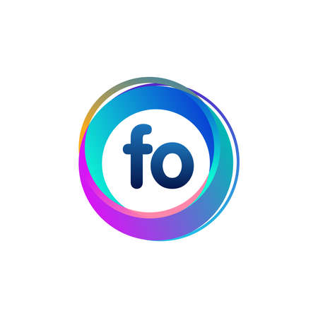 Letter FO logo with colorful circle, letter combination logo design with ring, circle object for creative industry, web, business and company.