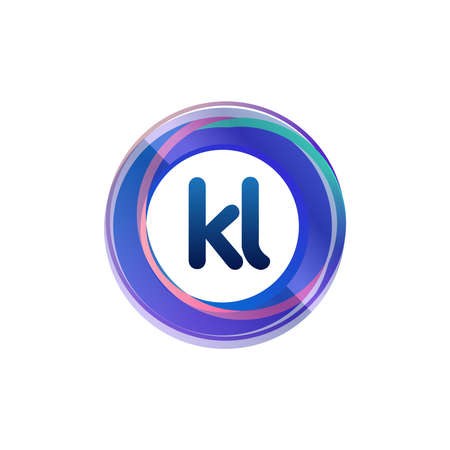 Letter KL with colorful circle, letter combination design with ring, circle object for creative industry, web, business and company. Ilustrace