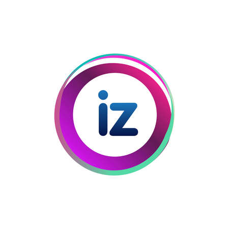 Letter IZ  with colorful circle, letter combination design with ring, circle object for creative industry, web, business and company. Ilustração