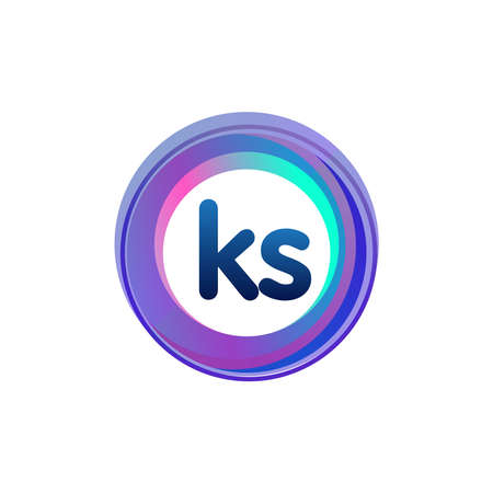 Letter KS logo with colorful circle, letter combination logo design with ring, circle object for creative industry, web, business and company. Logó