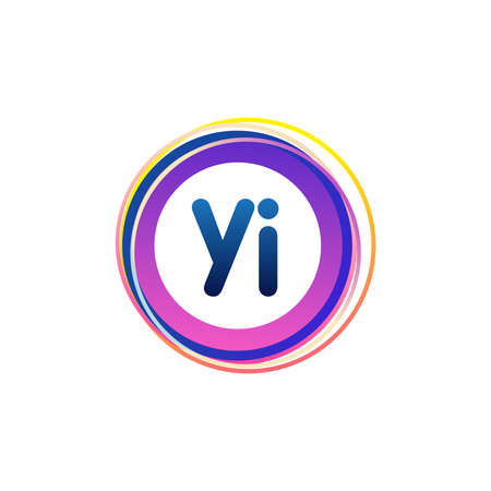 Letter YI logo with colorful circle, letter combination logo design with ring, circle object for creative industry, web, business and company.