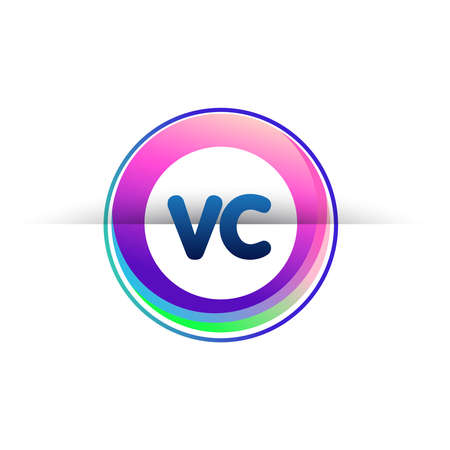 Letter VC logo with colorful circle, letter combination logo design with ring, circle object for creative industry, web, business and company.