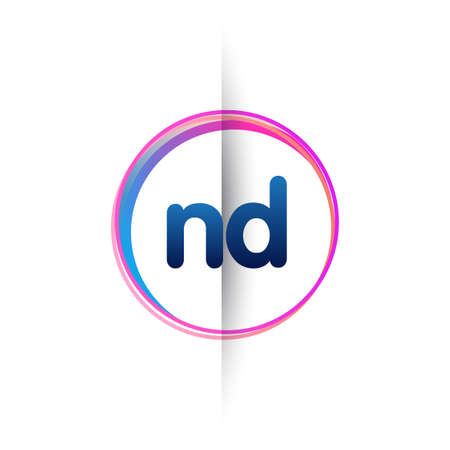 Letter ND logo with colorful circle, letter combination logo design with ring, circle object for creative industry, web, business and company.