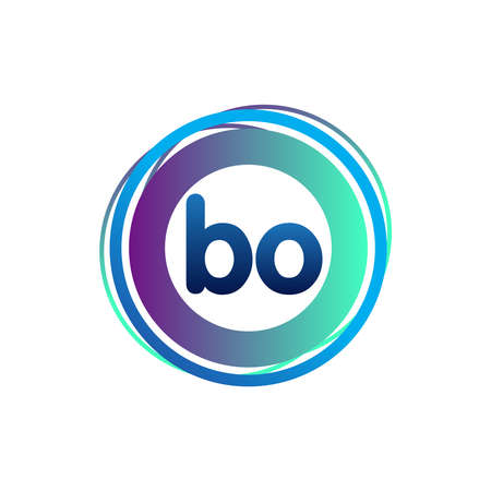 Letter BO logo with colorful circle, letter combination logo design with ring, circle object for creative industry, web, business and company.