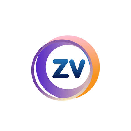 Letter ZV logo with colorful circle, letter combination logo design with ring, circle object for creative industry, web, business and company.