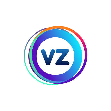 Letter VZ logo with colorful circle, letter combination logo design with ring, circle object for creative industry, web, business and company.
