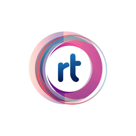 Letter RT logo with colorful circle, letter combination logo design with ring, circle object for creative industry, web, business and company. Logó