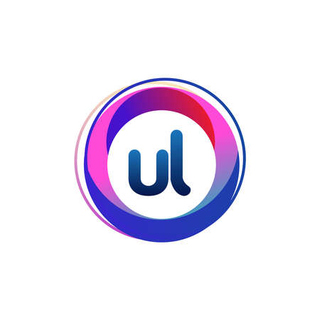 Letter UL logo with colorful circle, letter combination logo design with ring, circle object for creative industry, web, business and company.