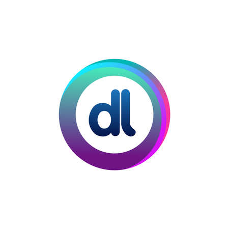 Letter DL logo with colorful circle, letter combination logo design with ring, circle object for creative industry, web, business and company. Ilustrace