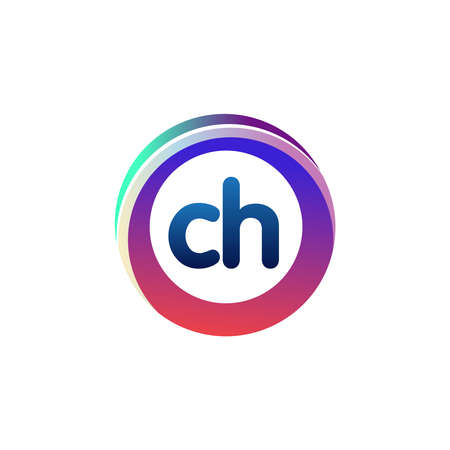 Letter CH logo with colorful circle, letter combination logo design with ring, circle object for creative industry, web, business and company.