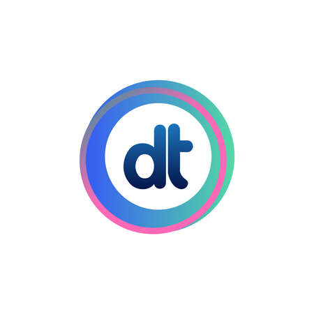 Letter DT logo with colorful circle, letter combination logo design with ring, circle object for creative industry, web, business and company.