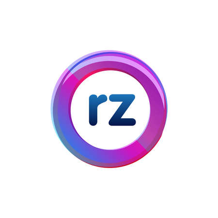 Letter RZ logo with colorful circle, letter combination logo design with ring, circle object for creative industry, web, business and company.