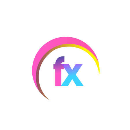 initial letter FX logotype company name, colorful and swoosh design. vector logo for business and company identity.