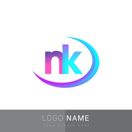 initial letter NK logotype company name, colorful and swoosh design. vector logo for business and company identity. Ilustrace