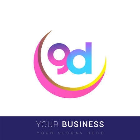 initial letter GD logotype company name, colorful and swoosh design. vector logo for business and company identity.