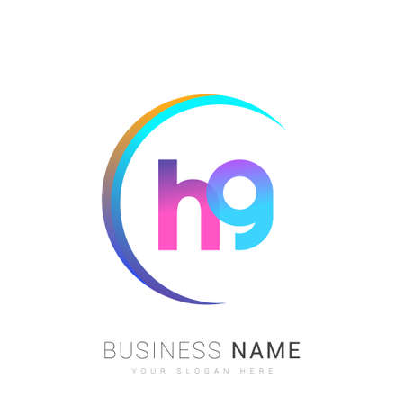 initial letter HG logotype company name, colorful and swoosh design. vector logo for business and company identity.