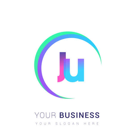 initial letter JU   company name, colorful and swoosh design. vector   for business and company identity.
