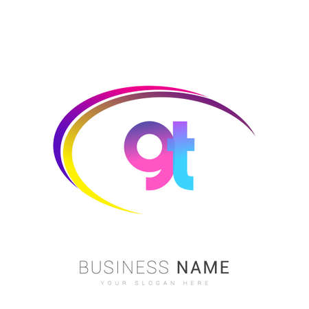 initial letter GT company name, colorful and swoosh design. vector for business and company identity.