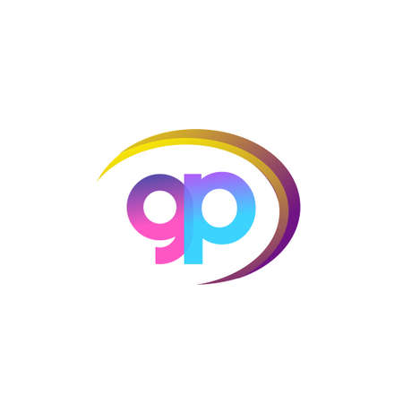 initial letter GP company name, colorful and swoosh design. vector for business and company identity.