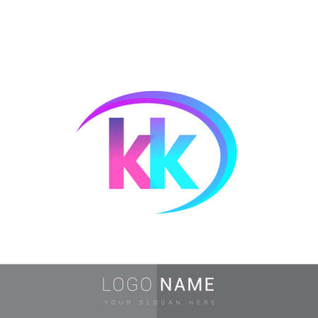 initial letter KK logotype company name, colorful and swoosh design. vector logo for business and company identity.