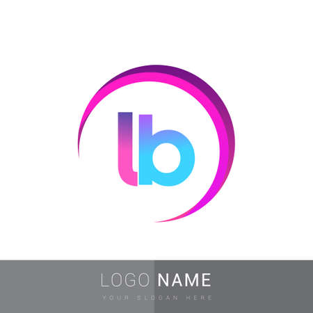 initial letter LB company name, colorful and swoosh design. vector for business and company identity.