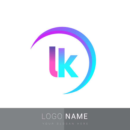 initial letter LK logotype company name, colorful and swoosh design. vector logo for business and company identity.