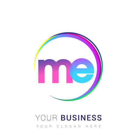 initial letter ME logotype company name, colorful and swoosh design. vector logo for business and company identity. Logo