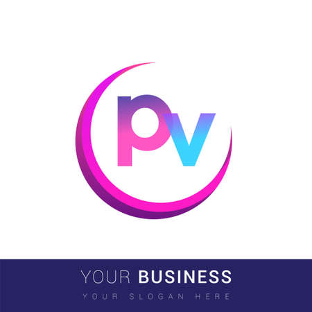 initial letter PV logotype company name, colorful and swoosh design. vector logo for business and company identity.