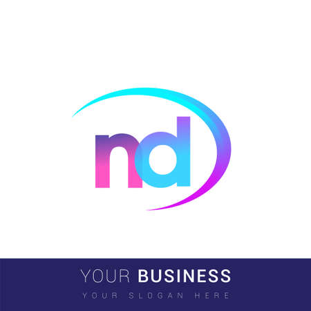 initial letter ND logotype company name, colorful and swoosh design. vector logo for business and company identity.