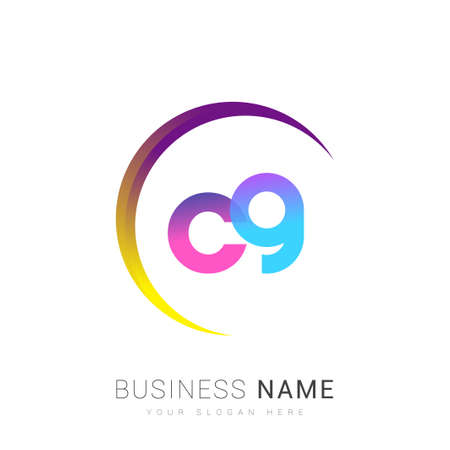 initial letter CG logotype company name, colorful and swoosh design. vector logo for business and company identity.
