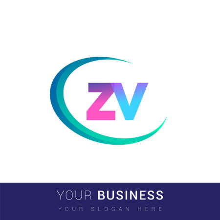 initial letter ZV logotype company name, colorful and swoosh design. vector logo for business and company identity.