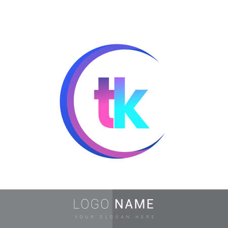 initial letter TK logotype company name, colorful and swoosh design. vector logo for business and company identity. Logó