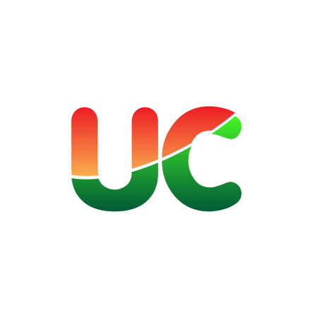 Initial Letter UC Lowercase, colorful Modern and Simple Design. 向量圖像