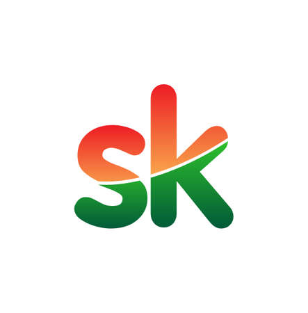 Initial Letter SK Lowercase, colorful Modern and Simple Design.