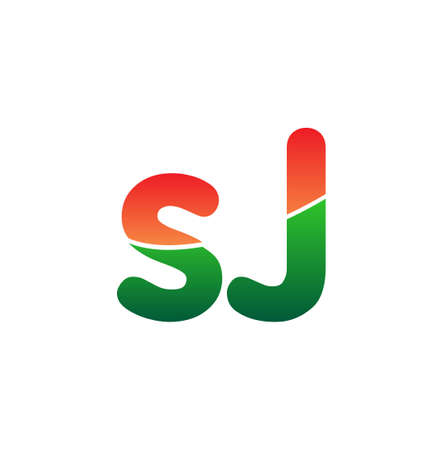 Initial Letter SJ Lowercase, colorful Modern and Simple Design.