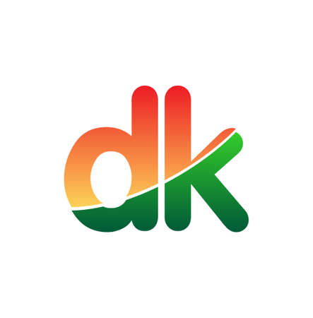 Initial Letter DK Lowercase, colorful Modern and Simple Design.