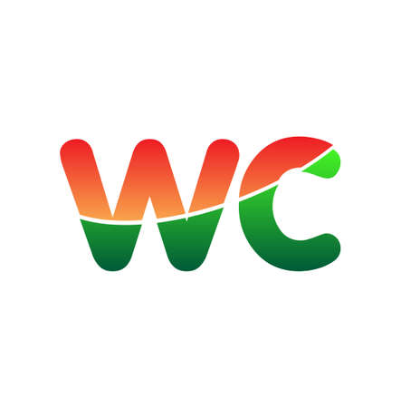 Initial Letter WC Lowercase, colorful Modern and Simple Design.