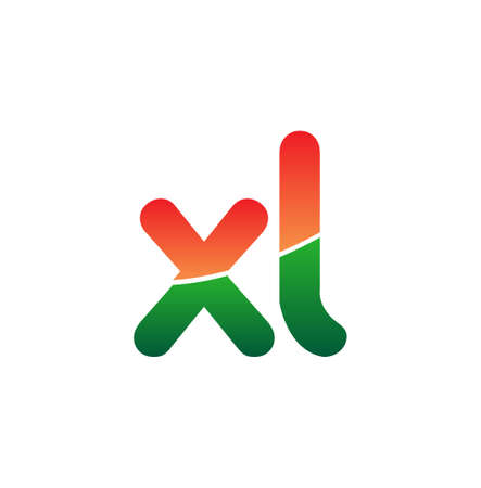 Initial Letter XL Lowercase, colorful Modern and Simple Design.