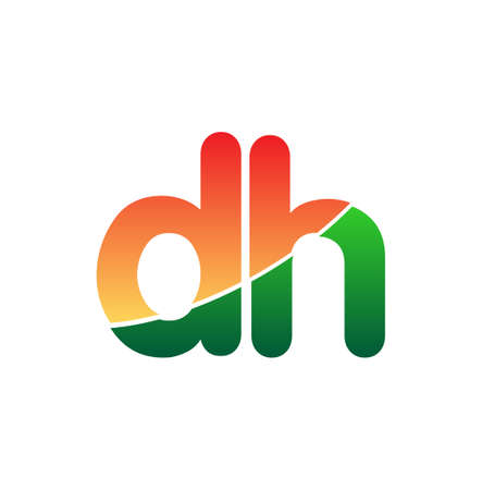 Initial Letter DH Lowercase, colorful Modern and Simple Design.