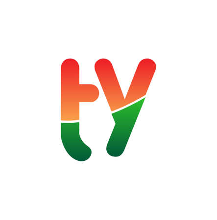 Initial Letter TY Lowercase, colorful Modern and Simple Design.