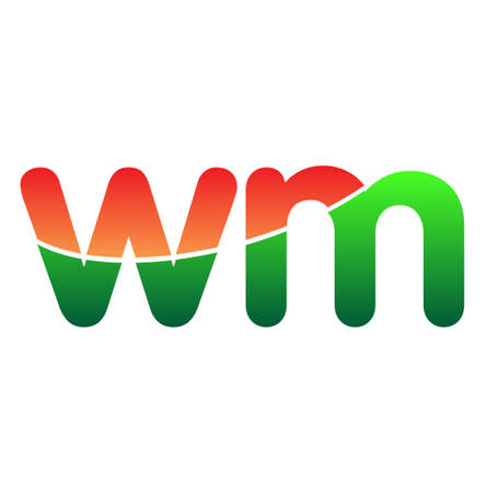 Initial Letter WM Lowercase, colorful Modern and Simple Design.