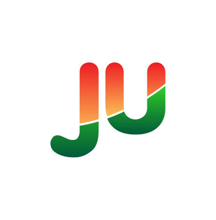 Initial Letter JU Logo Lowercase, colorful logotype Modern and Simple Logo Design.