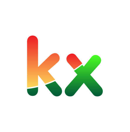 Initial Letter KX Logo Lowercase, colorful logotype Modern and Simple Logo Design.