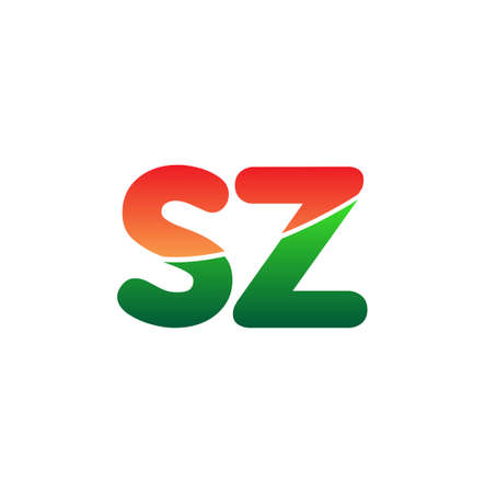 Initial Letter SZ Logo Lowercase, colorful logotype Modern and Simple Logo Design.
