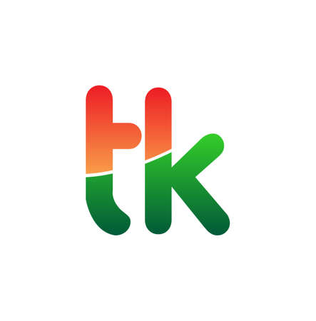 Initial Letter TK Logo Lowercase, colorful logotype Modern and Simple Logo Design.