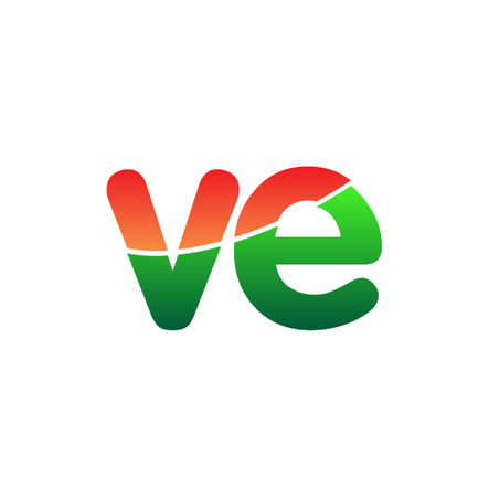 Initial Letter VE Logo Lowercase, colorful logotype Modern and Simple Logo Design.