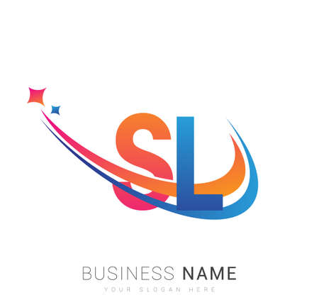 initial letter SL logotype company name colored orange, red and blue swoosh star design. vector logo for business and company identity.