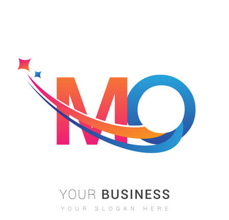 initial letter MO logotype company name colored orange, red and blue swoosh star design. vector logo for business and company identity. Ilustração