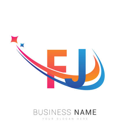 initial letter FJ logotype company name colored orange, red and blue swoosh star design. vector logo for business and company identity. Logó