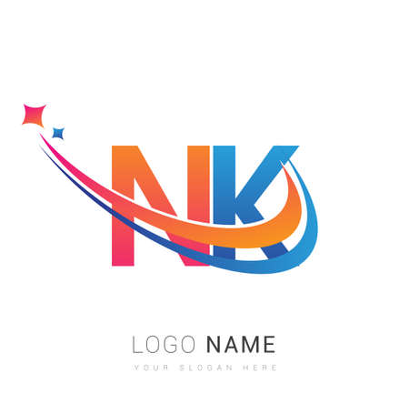 initial letter NK logotype company name colored orange, red and blue swoosh star design. vector logo for business and company identity.
